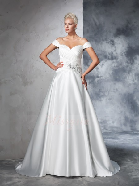 Ball Gown Off-the-Shoulder Sleeveless Taffeta Chapel Train Ruched Wedding Dresses