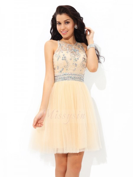 A-Line/Princess Sheer Neck Sleeveless Net Short/Mini Beading Dresses