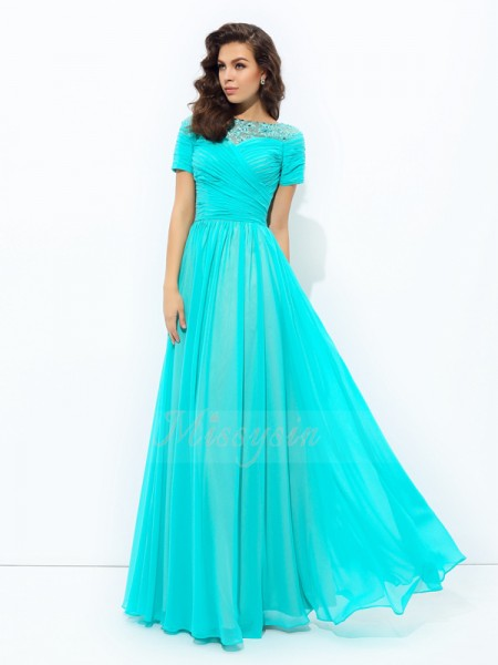 A-line/Princess Bateau Short Sleeves Chiffon Floor-Length Dresses
