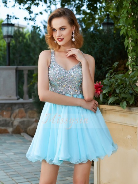 A-Line/Princess Straps Short/Mini Chiffon Sleeveless Rhinestone Dresses