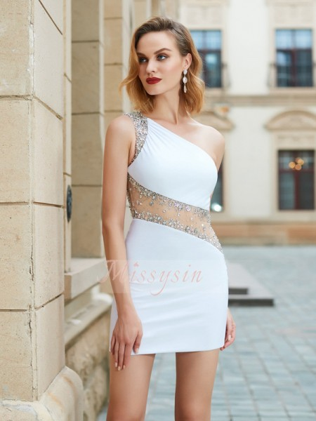 Sheath/Column One-Shoulder Short/Mini Net Sleeveless Beading Dresses