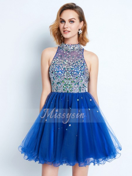 A-Line/Princess High Neck Short/Mini Net Sleeveless Ruffles Dresses