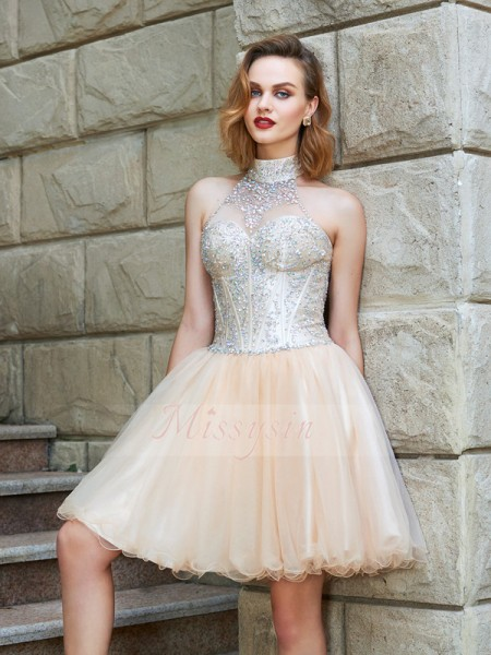 A-Line/Princess Halter Short/Mini Net Sleeveless Beading Dresses