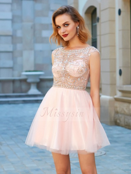 A-Line/Princess Scoop Short/Mini Net Short Sleeves Beading Dresses