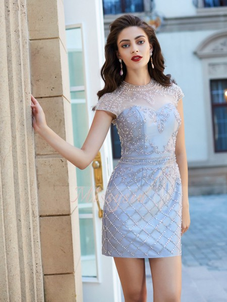 Sheath/Column Jewel Short/Mini Satin Short Sleeves Beading Dresses