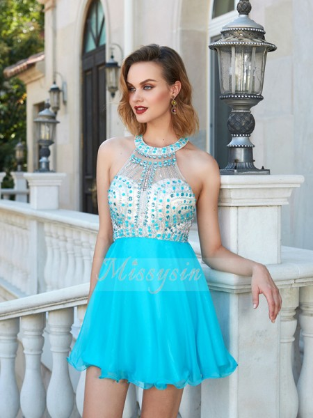 A-Line/Princess Halter Short/Mini Chiffon Sleeveless Beading Dresses