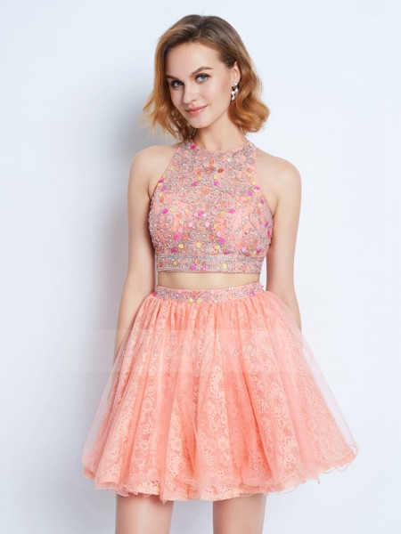 A-Line/Princess Jewel Short/Mini Lace Sleeveless Two Piece Dresses