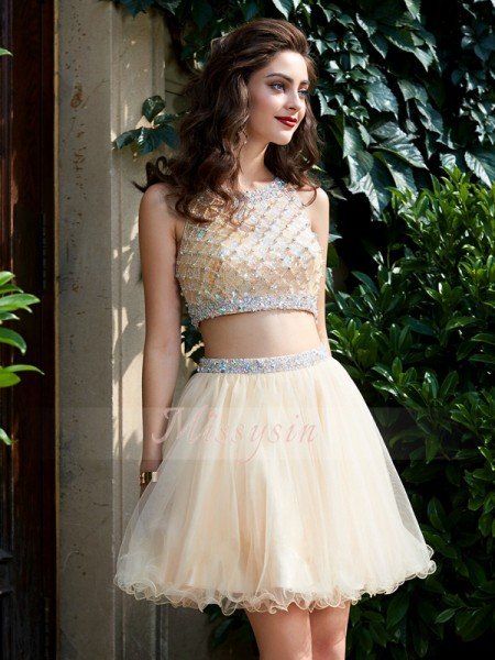 A-Line/Princess Scoop Short/Mini Net Sleeveless Beading Two Piece Dresses