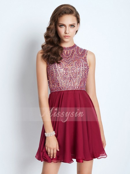 A-Line/Princess Jewel Short/Mini Chiffon Sleeveless Beading Dresses