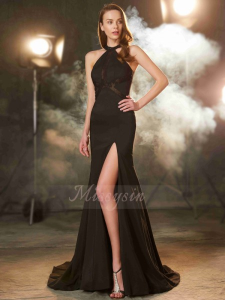 Sheath/Column Sweep/Brush Train Jewel Elastic Woven Satin Sleeveless Beading Dresses