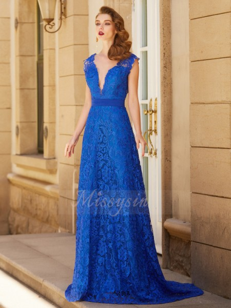 A-Line/Princess Sweep/Brush Train V-neck Lace Sleeveless Bowknot Dresses