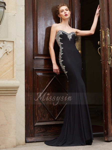 Sheath/Column Sweep/Brush Train Sweetheart Spandex Sleeveless Sequin Dresses