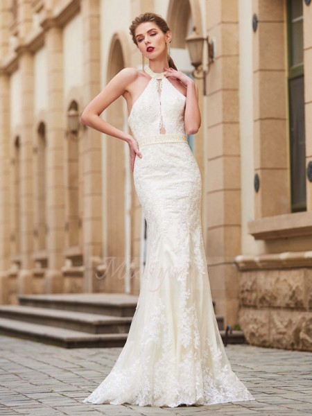 Sheath/Column Floor-Length Jewel Lace Sleeveless Applique Dresses