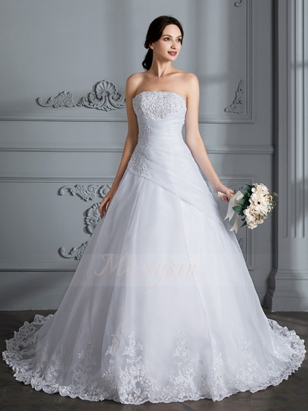 Ball Gown Strapless Court Train Sleeveless Organza Wedding Dresses