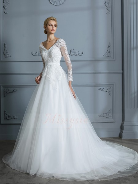 Ball Gown V-neck Court Train Long Sleeves Tulle Wedding Dresses