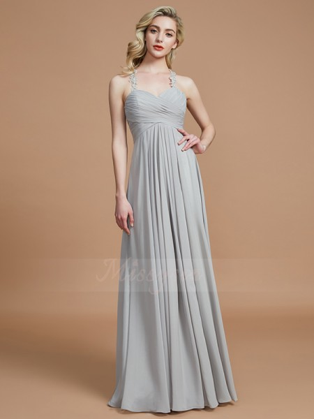 A-Line/Princess Sleeveless Sweetheart Chiffon Floor-Length Ruched Bridesmaid Dresses