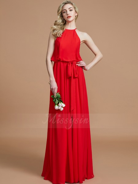 A-Line/Princess Sleeveless Halter Chiffon Floor-Length Sash/Ribbon/Belt Bridesmaid Dresses