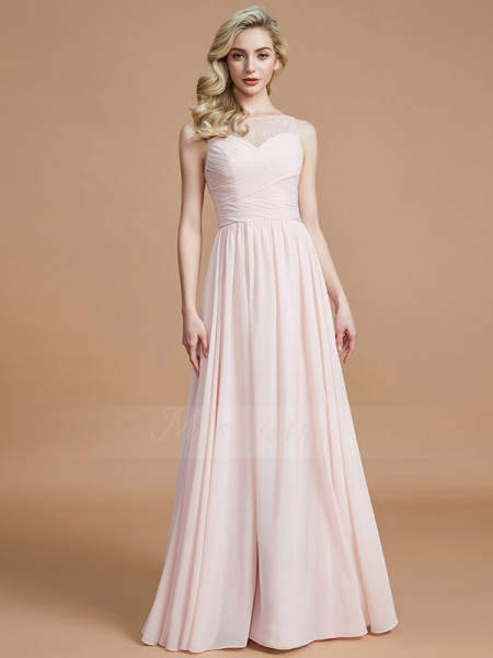 A-Line/Princess Sleeveless Bateau Chiffon Floor-Length Ruched Bridesmaid Dresses