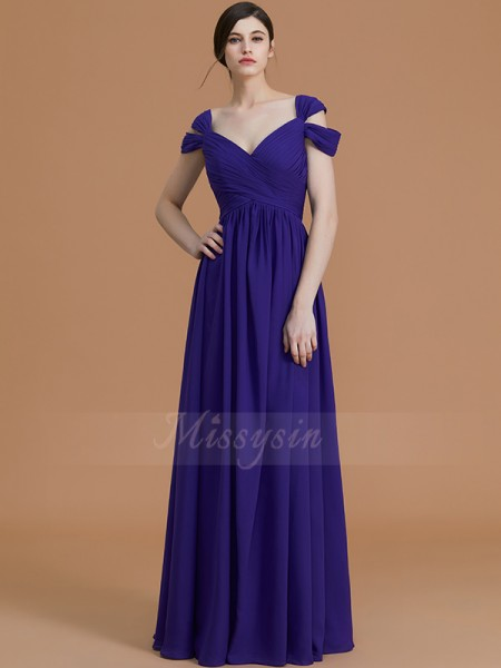 A-Line/Princess Sleeveless Off-the-Shoulder Chiffon Floor-Length Ruched Bridesmaid Dresses