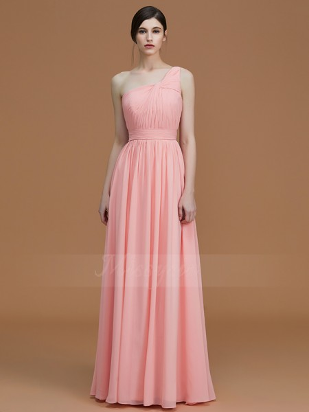 A-Line/Princess Sleeveless One-Shoulder Chiffon Floor-Length Ruched Bridesmaid Dresses