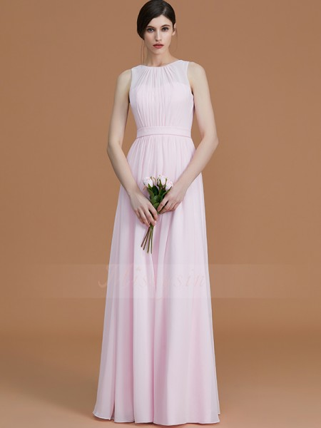 A-Line/Princess Sleeveless Jewel Chiffon Floor-Length Ruched Bridesmaid Dresses