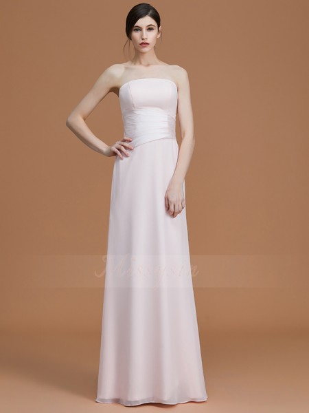 A-Line/Princess Sleeveless Strapless Chiffon Floor-Length Ruched Bridesmaid Dresses