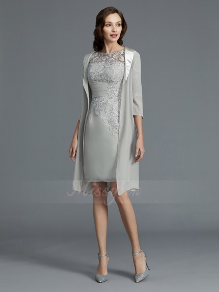 Sheath/Column Scoop 1/2 Sleeves Chiffon Short/Mini Mother of the Bride Dresses