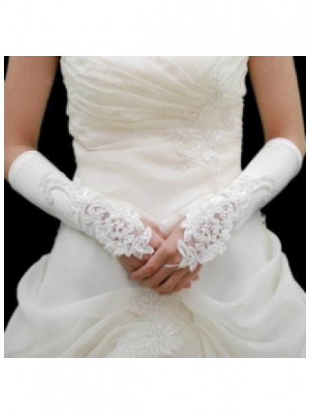 Elastic Satin Embroidery Beadings Elbow Gloves