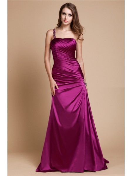 A-Line/Princess One-Shoulder Sleeveless Beading Elastic Woven Satin Floor-Length Dresses