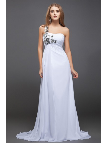 A-Line/Princess One-Shoulder Sleeveless Sequin Chiffon Sweep/Brush Train Dresses