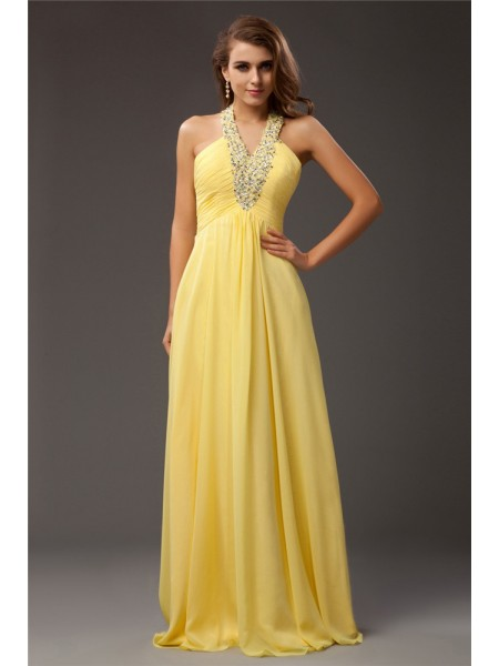 Sheath/Column Halter Sleeveless Beading Chiffon Floor-Length Dresses
