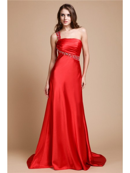 A-Line/Princess One-Shoulder Sleeveless Beading Elastic Woven Satin Sweep/Brush Train Dresses