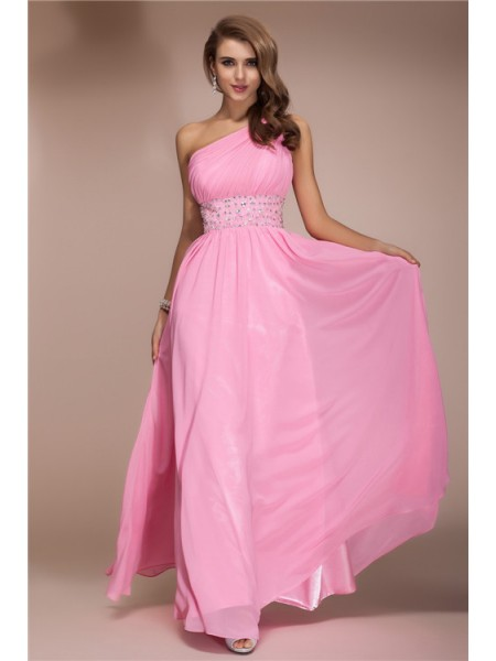 Sheath/Column One-Shoulder Sleeveless Beading Chiffon Floor-Length Dresses