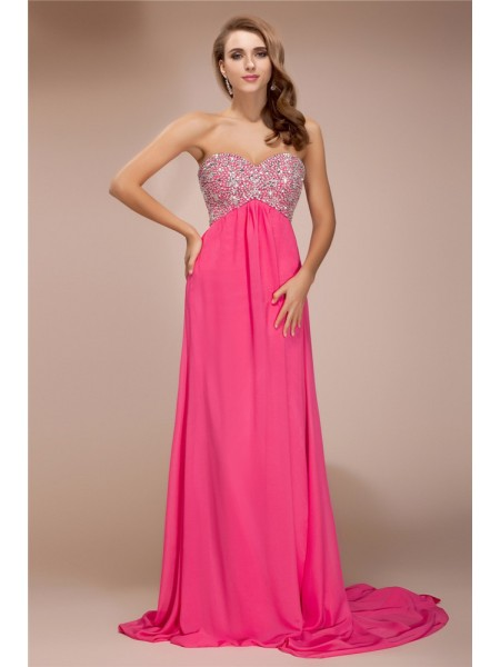Sheath/Column Sweetheart Sleeveless Beading Chiffon Sweep/Brush Train Dresses