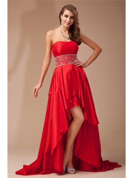 A-Line/Princess Strapless Sleeveless Beading Taffeta Asymmetrical Dresses