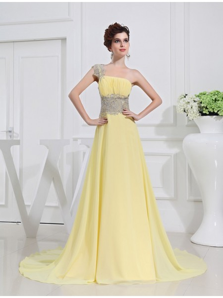 A-Line/Princess One-Shoulder Sleeveless Beading Chiffon Sweep/Brush Train Dresses