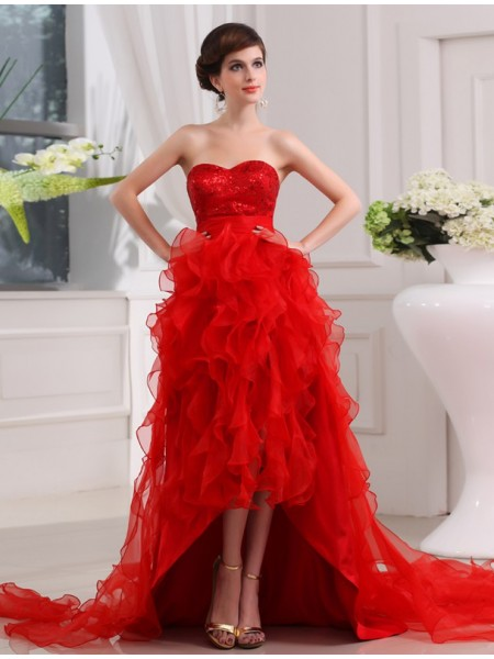 A-Line/Princess Sweetheart Sleeveless Sequin Organza Asymmetrical Dresses