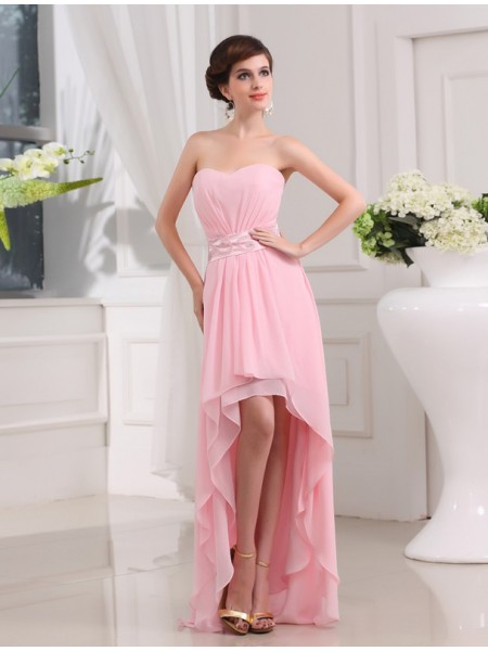 A-Line/Princess Sweetheart Sleeveless Beading Chiffon Asymmetrical Dresses