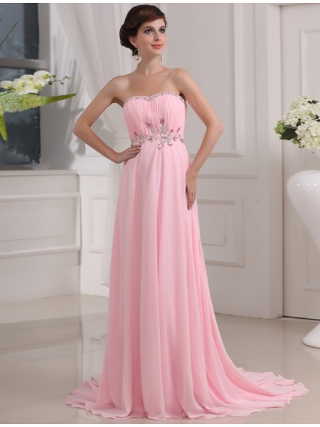 A-Line/Princess Strapless Sleeveless Beading,Applique Chiffon Sweep/Brush Train Dresses