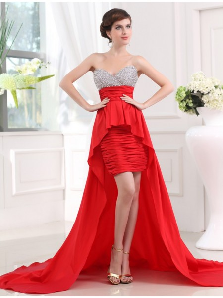 A-Line/Princess Sweetheart Sleeveless Beading Taffeta Asymmetrical Dresses