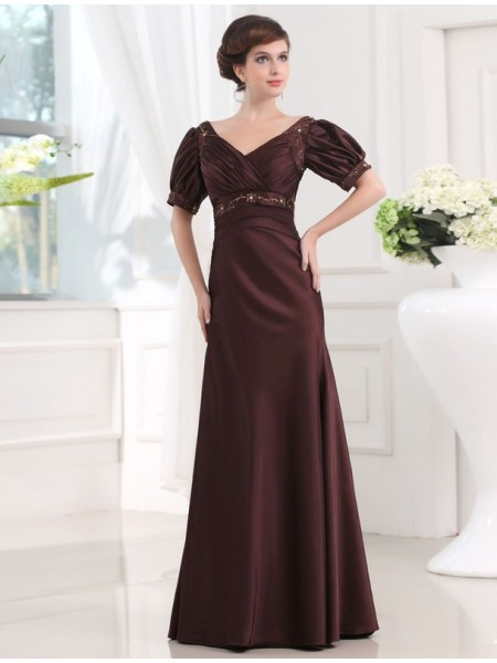 Sheath/Column V-neck 1/2 Sleeves Beading Satin Floor-Length Dresses