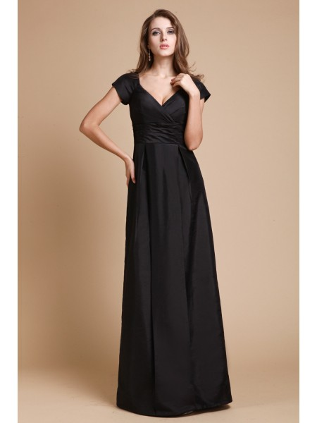 Sheath/Column V-neck Short Sleeves Ruffles Taffeta Floor-Length Evening Dresses
