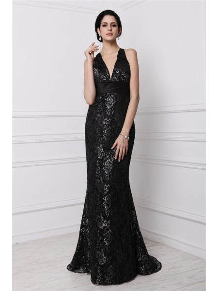 Sheath/Column V-neck Sleeveless Lace Sweep/Brush Train Dresses
