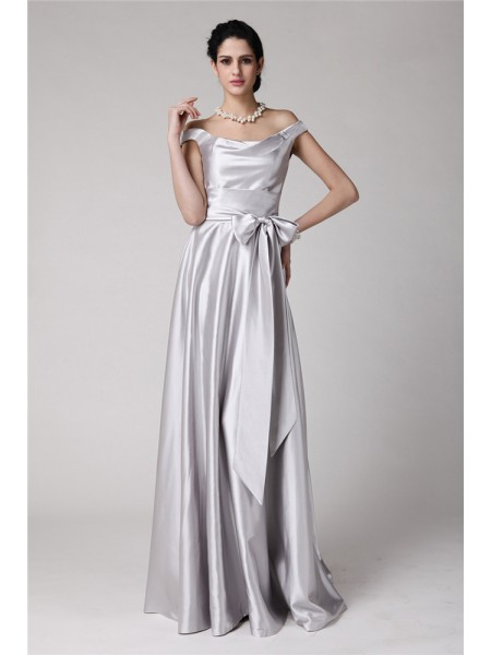Sheath/Column Off-the-Shoulder Sleeveless Sash/Ribbon/Belt Elastic Woven Satin Floor-Length Evening Dresses