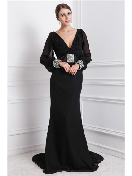 Trumpet/Mermaid V-neck Long Sleeves Beading Chiffon Sweep/Brush Train Evening Dresses