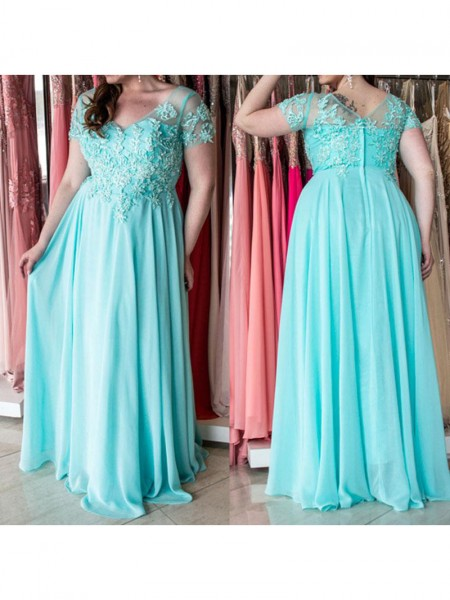 A-Line/Princess Sweetheart Short Sleeves Applique Chiffon Floor-Length Dresses