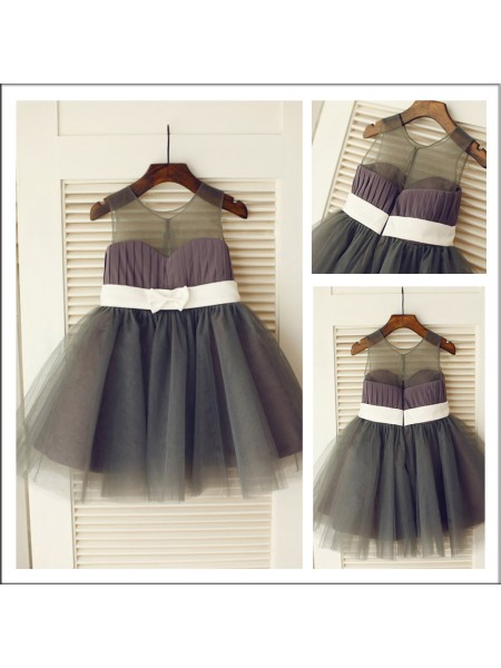 A-Line/Princess Sleeveless Scoop Tulle Knee-length Sash/Ribbon/Belt Flower Girl Dresses