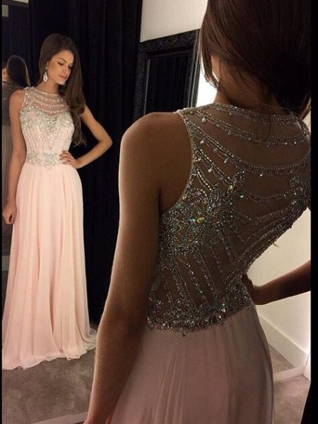 A-Line/Princess Sleeveless Scoop Chiffon Floor-Length Crystal Dresses