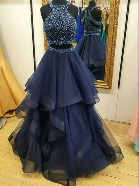 A-Line/Princess Halter Tulle Sleeveless Beading Floor-Length Dresses