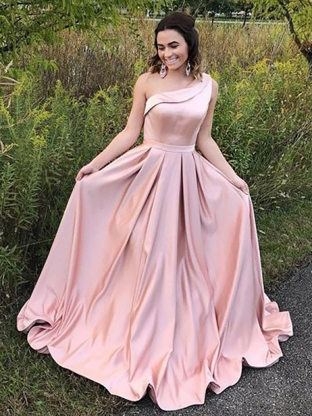 A-Line/Princess One-Shoulder Satin Sleeveless Ruffles Sweep/Brush Train Dresses